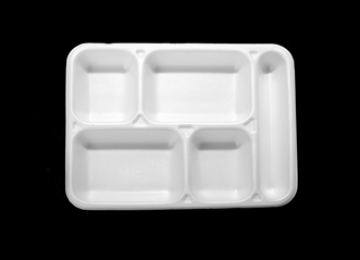 Foam Meal Tray 5 Compartments